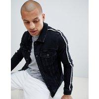 River Island muscle fit denim jacket in black - Black