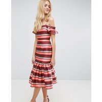 ASOSASOS Stripe Drop Seamed Midi Dress with Flutter Sleeves - Multi