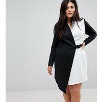 ASOS CURVE Colourblock Blazer Dress with Belt - Multi
