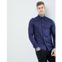 ASOS DESIGN regular fit western viscose shirt in navy with poppers - Navy