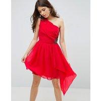 Little MistressLittle Mistress Embellished Exposed One Shoulder Prom Dress - Watermelon