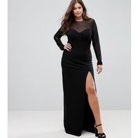 Vestido largo ajustado estilo corsé con aplicación de malla de TTYA BLACK Plus