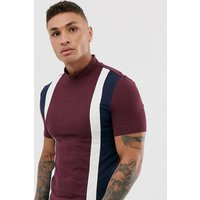 ASOS DESIGN muscle t-shirt with stretch and turtle neck and vertical colour block - Port royale