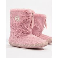 Bedroom Athletics Marylin faux fur slipper boot in pink - Dusky pink
