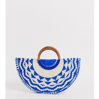 Accessorize Josephina Blue Woven Embroidered Moon Grab Clutch Bag With Wooden Handle