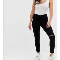 New Look Petite ripped skinny jeans in black - Black