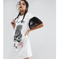 Jaded London TallJaded London Tall Oversized Rock T-Shirt Dress With Mesh Frilly Sleeve - Cream