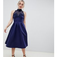 Little Mistress Petite high neck prom dress with floral applique and sequin detail - Navy