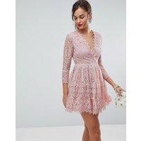 ASOS Long Sleeve Lace Mini Prom Dress - Dusty pink