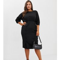 ASOS DESIGN Curve midi pencil dress with button skirt