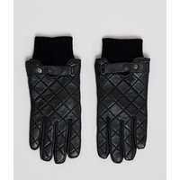 Barbour Quilted Leather Gloves In Black - Black