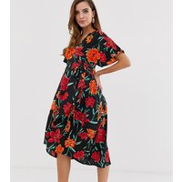 Influence Maternity kimono sleeve wrap dress in floral print - Black floral