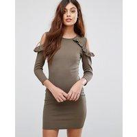 Be Jealous Cold Shoulder Dress With Frill Detail - Khaki