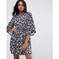 QED LondonQED London Floral Smock Dress With Frill Detail - Multi