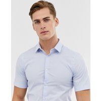 French Connection Plain Poplin Stretch Short Sleeve Shirt - Pale blue