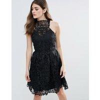 Little MistressLittle Mistress Lace Halter Neck Mini Dress - Black