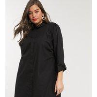ASOS DESIGN Curve - Mini-Hemdkleid aus Baumwolle - Schwarz