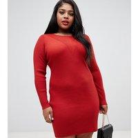 Urban Bliss Plus Ribbed Knit Mini Dress - Rust