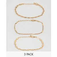 Asos Design Pack Of 3 Bracelets With Delicate Chain And Disc Detail In Gold - Gold