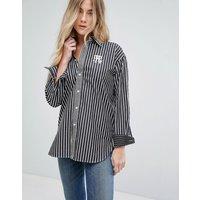 Camisa estilo boyfriend a rayas con logo de Polo Ralph Lauren