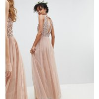 Maya Sleeveless Sequin Bodice Tulle Detail Maxi Bridesmaid Dress With Cutout Back - Taupe blush