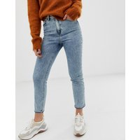 ASOS DESIGN Farleigh high waisted slim mom jeans in 80's acid wash - Blue