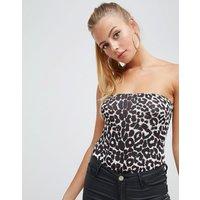 PrettyLittleThing Leopard Bandeau Body - Tan
