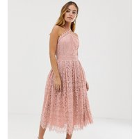 ASOS DESIGN Petite lace midi dress with pinny bodice - Soft blush