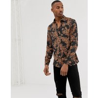 River Island slim fit shirt with baroque print in black - Black