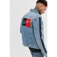 River Island denim jacket in with prolific back print in blue wash - Blue