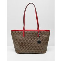 Dkny Logo Tote With Contrast Handle In Mocha - Mocha Logo Rouge