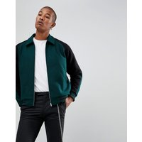 ASOS DESIGN varsity jacket in bottle green - Green