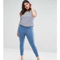 ASOS DESIGN Curve pull on jeggings in maisy mid wash blue - Mid wash blue