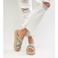 London Rebel Flatform Espadrille Sandals - White