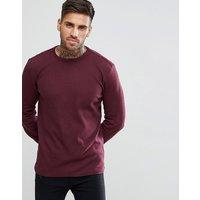 New Look Long Sleeve Waffle Knit Top In Burgundy - Dark burgundy