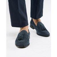 KG By Kurt Geiger Tassel Loafers In Navy Suede - Blue
