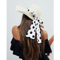 Sombrero floppy de paja con detalle de lazo de lunares y talla ajustable de ASOS
