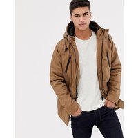 Brave Soul Hooded Bonded Parka - Tan