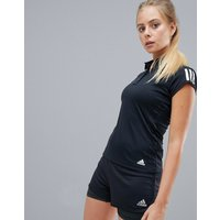 Adidas Tennis Three Stripe Polo Shirt In Black - Black