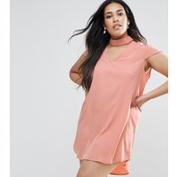 AX ParisAX Paris Plus Choker Detail Short Sleeve Dress - Pink