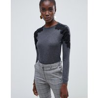 Warehouse jumper with lace shoulder detail in grey - Dark grey