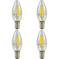 4 Pack B15 Bayonet LED 4W Filament Candle Bulb (40W Equivalent) 470 Lumen - Warm White Clear