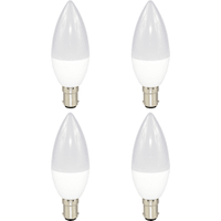 4 Pack B15 Small Bayonet Cap LED 5.5W Candle Bulb (40W Equivalent) 470 Lumen - Warm White Frosted
