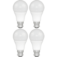 4 Pack B22 Bayonet LED 9W Standard GLS Bulb (60W Equivalent) 806 Lumen - Warm White Frosted