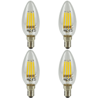 4 Pack E14 Screw LED 4W Filament Candle Bulb (40W Equivalent) 470 Lumen - Warm White Clear
