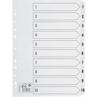 5 Star White A4 150gsm 1-10 Index Card with Clear Mylar Tabs