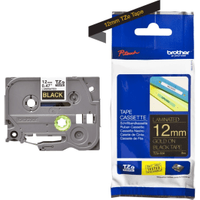 Brother TZ-334 Original P-Touch Gold on Black Tape 12mm x 8m