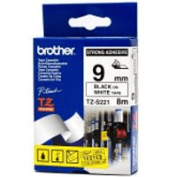 Brother TZ-S221 Original P-Touch Strong Adhesive Black on White Tape 9mm x 8m