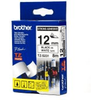 Brother TZ-S231 Original P-Touch Strong Adhesive Black on White Tape 12mm x 8m