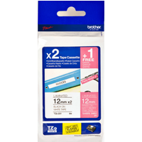 Brother TZE-32M3 Original P-Touch 2 x (12mm x 8m) Black On White Laminated Labelling Tape + FREE (12mm x 2m) White On Matt Berry Pink